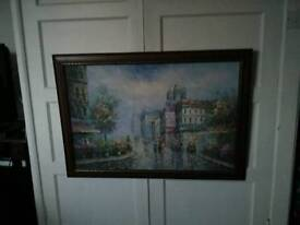 Large wood framed oil painting
