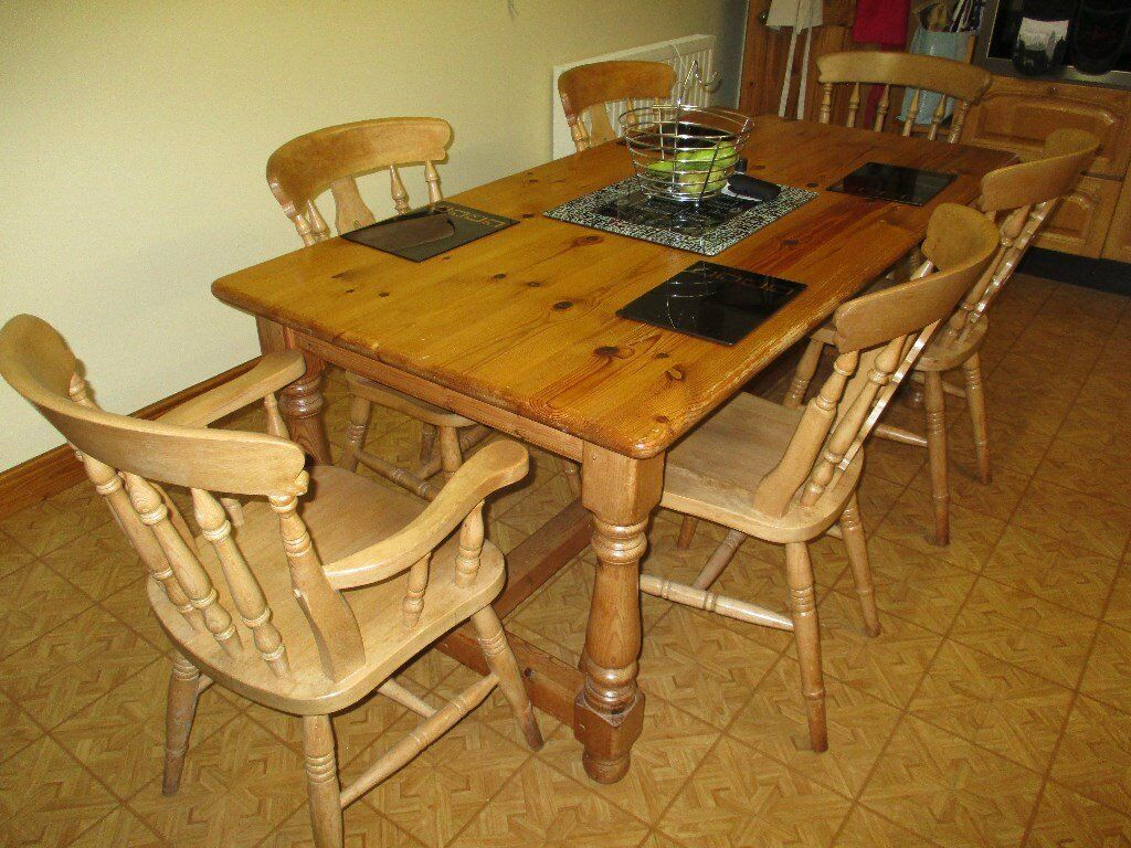 Solid pine 6ft x 3 ft refectory table with 4 fiddleback chairs and 2 carver fiddleback chairs