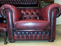 antique ox blood leather chesterfield club chair. excellent condition.