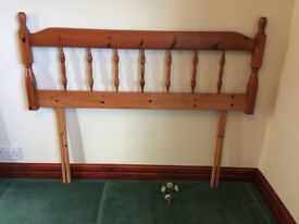 Pine bedhead for 4 foot divan, collection in Horsham, good condition