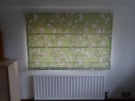 Three matching pale green / cream made to measure roman blinds for sale