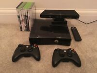 X Box 360 With Kinect & 7 Games/2 Controllers