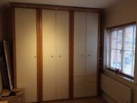 Made to measure 6 door wardrobe with spotlights and matching 2 bedside cupboards