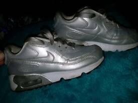 Girls size 11 silver Nike Air Max