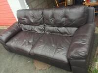 Dark Brown Leather Settee