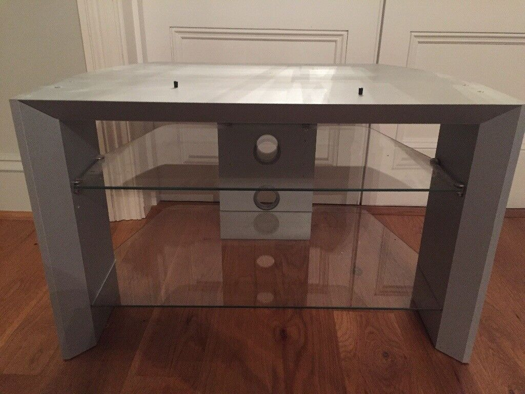 Silver Grey / Glass TV Stand