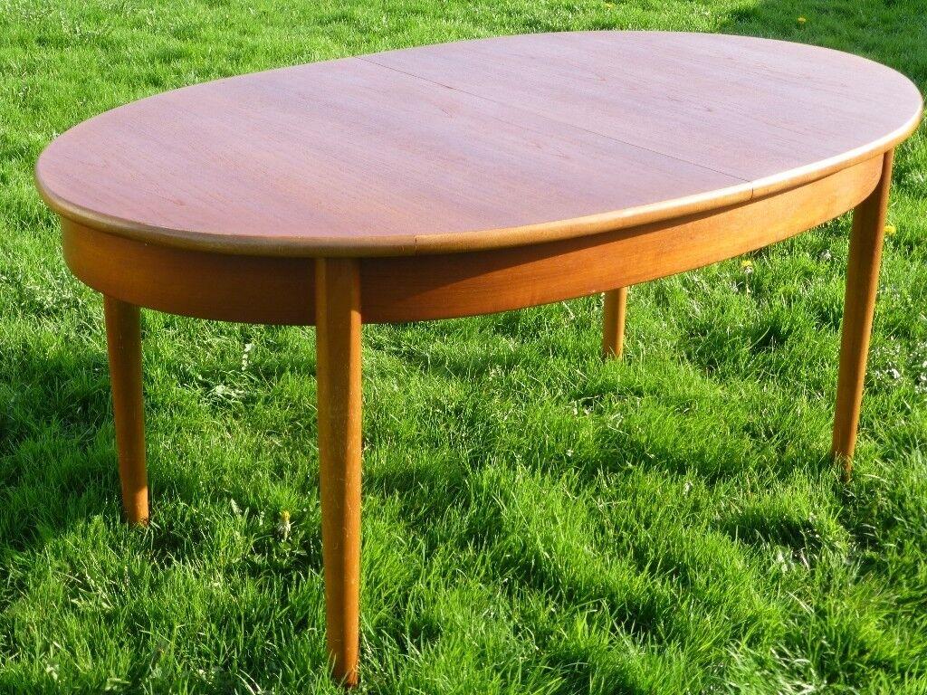 Vintage S Solid Teak Wood Oval Extending Dining Table - Teak oval extension dining table