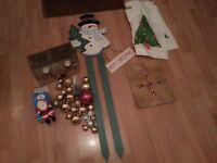 Xmas Items (Snowman Sign, Santa Stocking Hanger, Tree Topper, Tealight Holders Candles, Baubles)