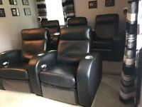 5 Black Leather electric recliner cinema chairs