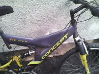 CONCEPT MENS MOUNTAIN BIKE,18 INCH FRAME,26 INCH WHEELS,18 GEARS GOOD TYRES,