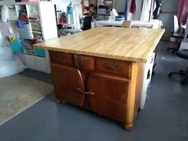 Oak cutting table, sewing table, 2mx1.45m plenty of storage. Vintage style, very large