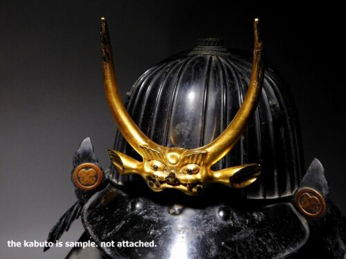 SHIKAMI MAEDATE Gold colored Japanese Original Yoroi Kabuto Armor Antique