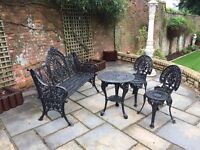 Cast Iron Garden Furniture , 2 Chairs , Table and Bench