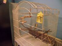 cream bird cage on stand, large size, suitable for most birds