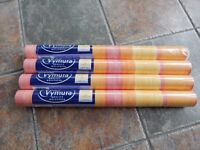 COLLECTION ONLY Four rolls, identical (unopened) Vymura wallpaper - orange, yellow, pink stripe
