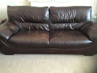 Large and medium Brown leather sofa