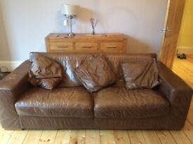 Free Real Leather Brown Sofas