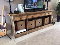 Wooden sideboard with rustic look