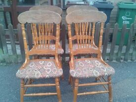 4 dining chairs,solid oak,carved back,clean cushion,wear back