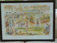 Medium Framed with Glass Golfing Scene Print Signed - M Glyn 1993