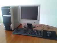 Packard Bell desktop, monitor, keyboard, Freeview TV tuner, etc