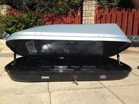 Halfords 470L Full Width Roofbox for sale + optional Thule roof bars & 4 x Halfords bike carriers