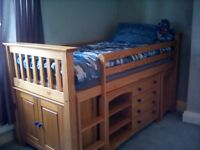 Mid sleeper cabin bed by Julian Bowen. Used condition.