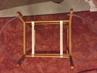 Used wicker moses basket with wooden frame rocker