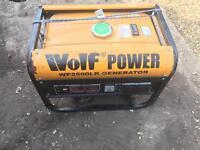 Wolf 2500watt petrol generator. Used