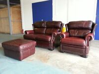 RED / BURGUNDY LEATHER SET 2 SEATER SOFA SUITE SETTEE ARMCHAIR & FOOTSTOOL CHESTERFIELD STYLE