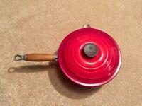 Le Crueset Pans x 4 (18,20,22,22 lip) Red, and bonus griddle pan (not Le Crueset)