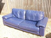 Leather 2-3 seater sofa, clean & comfortable modern & funky blue, wide armrests with zipped cushions