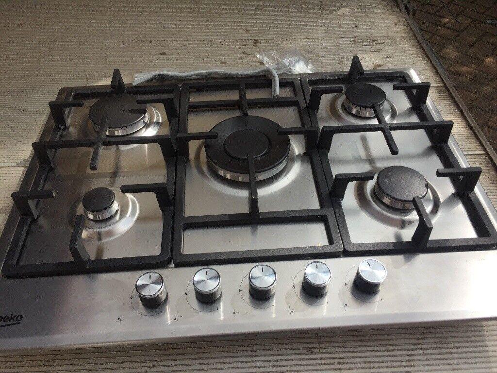 Beko Stainless Steel 5 Burner Gas Hob New and Unused
