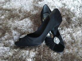 Black Satin Shoes Size 38 Brand New!