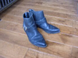 Vintage Men's boots, black - cowboy type size 9