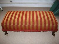 Long Red /Old Gold Striped Footstool