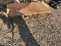 Cast iron and wicker garden set