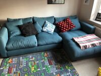 Large teal chaise sofa from Sofa Workshop - good condition and extremely comfortable