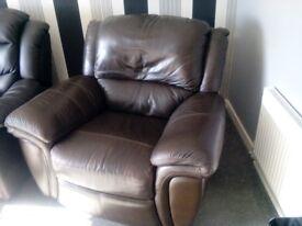 Leather reclining swivel rocker