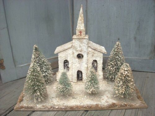 Vintage Antique Folk Art Xmas Display Lighted Church Flocked Brush Trees