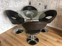 Glass dining table and 4 Dwell Chairs