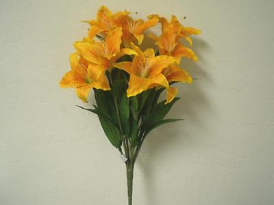 ORANGE YELLOW Large Tiger Lily Bush 9 Artificial Silk Flowers 18