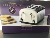 Sainsbury's Collection Traditional 4 Slice Toaster Cream