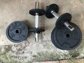 Dumbbells with 32kg worth of weight plates