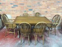 Solid Oak Extending Refectory Table + 8 Chairs - UK Delivery