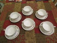 BONE CHINA 6 SOUP BOWLS AND 6 SAUCERS by PARAGON.....Design is BELINDA....MINT CONDITION....£40.