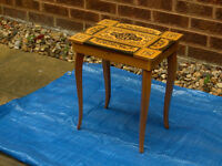 VINTAGE INLAID WOOD MUSICAL TABLE WITH HIDDEN STORAGE / JEWELLERY BOX #FREE LOCAL DELIVERY#