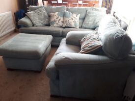 Settee, armchair & large footstool with storage