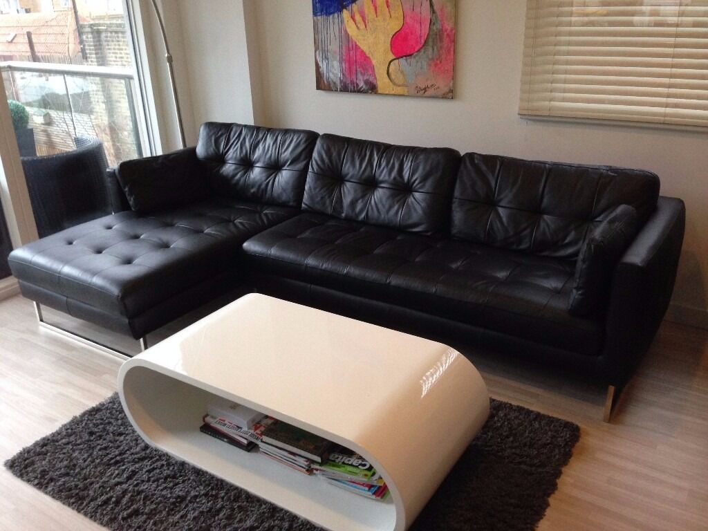 Dwell Paris Leather Left Hand Corner Sofa Black In Perfect Condition