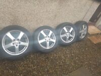 full set of 16 inch; Dezent alloys with nankang winter tyres, Ford fitment, £295